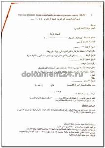 Перевод свидетельства на арабский
