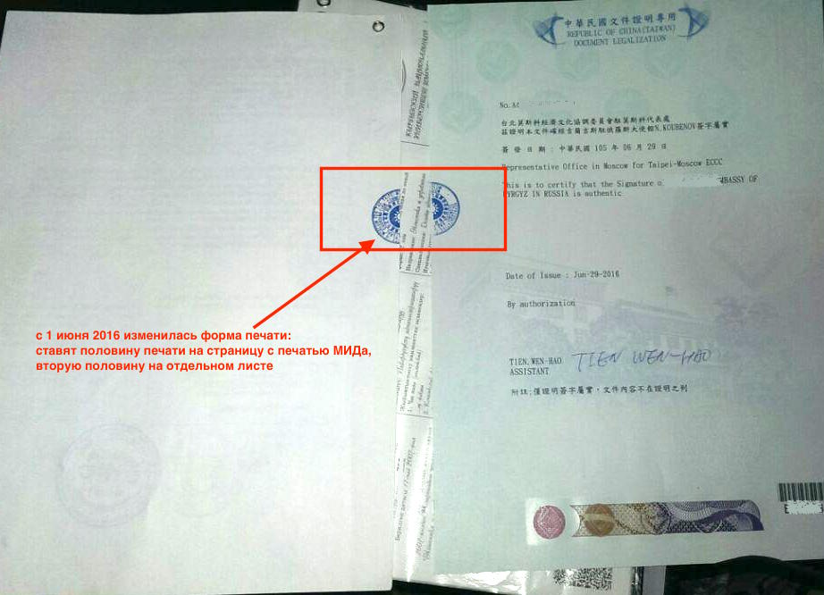 Тайвань легализация документов
