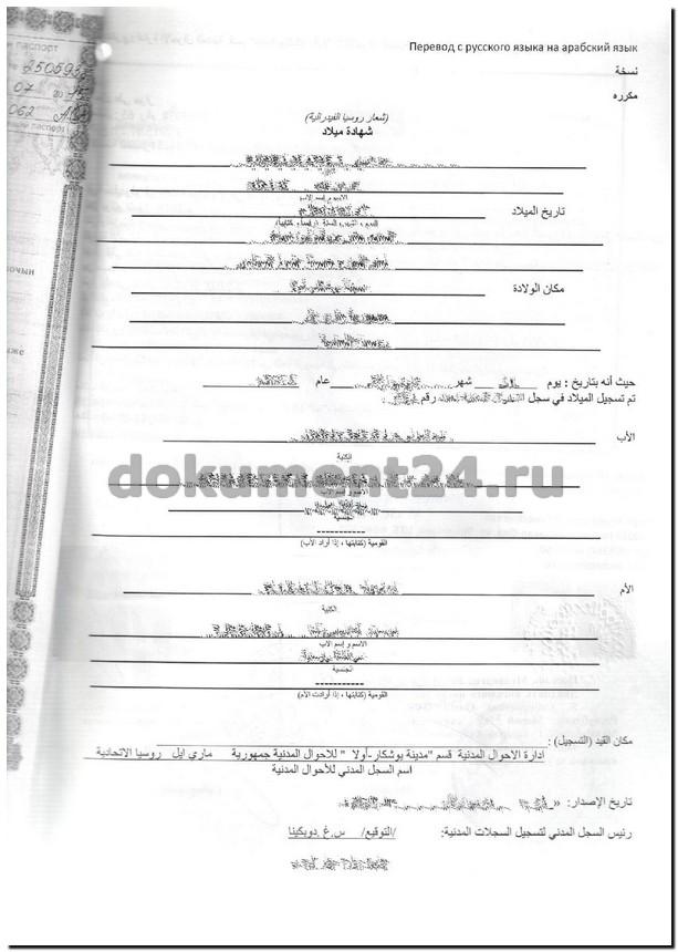 Свидетельство. Египет. Перевод на арабский язык