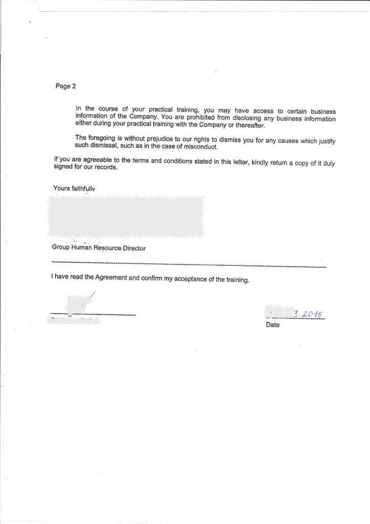 Письмо от работодателя Малайзия 2